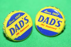 Handcrafted Cuff Links - Dad's Old Fashioned Root Beer Cap with 24 ct Gold Plated Posts