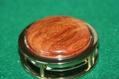 Handcrafted South American Canarywood Magnifying Glass Paperweight in a Beautiful 24 ct Gold Finish