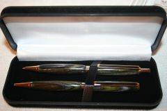Handcrafted Wooden Pen - Shady Olive Grove Laminate Slim Twist Pen and Click Pencil Set in a Bright Gold Finish with a Presentation Box