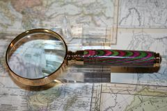 Handcrafted 2 inch Petite Magnifying Glass in a Fine Edgemore Manor Laminate in a 24ct Gold Finish
