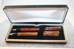 Handcrafted Wooden Pen - West African Aformosia Classic Twist Pen and Click Pencil Set in Gold Finish/Cobalt Clip with a Presentation Box