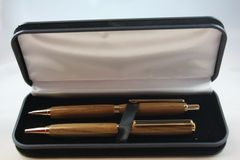 Handcrafted Wooden Pen - Beautiful Teak Slim Twist Pen and Click Pencil Set in a Bright Gold Finish/Cobalt Clip with a Presentation Box