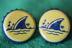 Handcrafted Cuff Links - Land Shark Lager Beer Cap Cufflinks with Bright Gold Plated Bezels