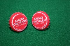 Handcrafted Cuff Links - Angry Orchard Hard Cider Cap Cufflinks with Bright Gold Plated Bezels
