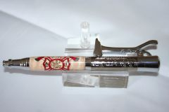 Handcrafted Acrylic Pen - Fireman's Pen with a Fire & Rescue Inlay Finished in Beautiful Gunmetal and Chrome