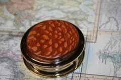 Handcrafted Leopardwood Magnifying Glass Paperweight in a Beautiful 24 ct Gold Finish