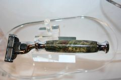 Handcrafted Chrome Razor Handle in Beautiful Green and Yellow dyed Buckeye Burl for Gillette Mach 3/Mach 3 Turbo/Venus
