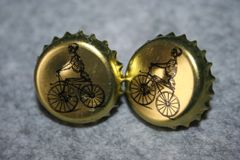 Handcrafted Cuff Links - Bone Shaker Beer Cap Cufflinks with Bright Gold Plated Bezels