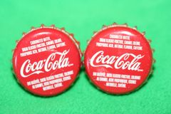 Handcrafted Cuff Links - Coca Cola Soda Pop Cap Cufflinks with Bright Gold Plated Bezels