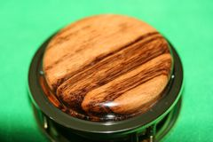 Handcrafted Central American Tigerwood Magnifying Glass Paperweight in a Beautiful 24 ct Gold Finish
