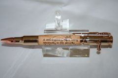 Handcrafted Wooden Inlay Pen - Bolt Action 2nd Amendment Inlay Pen Finished in 24 ct Gold