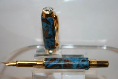 Handcrafted Wooden Pen - Triton Fountain Pen in a Sky Blue Pearl and Banksia Nuts Finished in Bright 24ct Gold with Chrome Accents