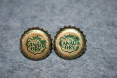 Handcrafted Cuff Links - Canada Dry Soda Cap Cufflinks with Bright Gold Plated Bezels