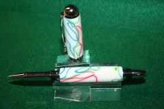 Handcrafted Acrylic Pen - Happy Trails Acrylic Sedona Roller Ball Pen in a Bright Chrome Finish