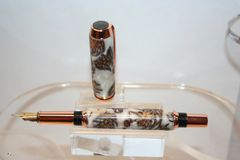 Handcrafted Acrylic Pen - Baron Fountain Pen in White Pearl and Pine Cones Finished in Beautiful Bright Copper