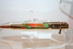 Handcrafted Acrylic Pen - Bolt Action Pen in Cantaloupe Acrylic Finished in Bright 24 ct Gold