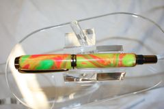 Handcrafted Acrylic Pen - Baron Roller Ball in Citrus Neon Amalgam-Mutt Acrylic Pen Finished in Bright Gold