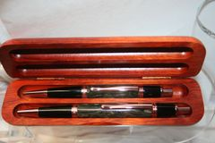 Handcrafted Acrylic Pen - Woodland Mist Executive Twist Pen and Click Pencil Set in a Bright Copper Finish with a Rosewood Presentation Box