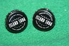 Handcrafted Cuff Links - Famous Island Soda Pop Cap Cufflinks with Bright 24ct Gold Plated Bezels