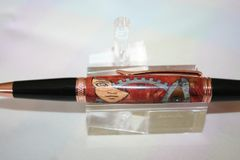 Handcrafted Wooden Pen - Steampunk Butterfly Executive Twist Inlay Pen Finished in Bright Copper