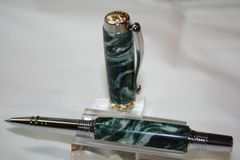 Handcrafted Acrylic Pen - Triton Roller Ball Pen in Night Goblin Lava Artisan Acrylic Finished in Bright Chrome with Titanium Gold