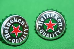 Handcrafted Cuff Links - Heineken Beer Cap Cufflinks with Bright Gold Plated Bezels