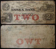 1863 $2 Essex Bank, Haverhill