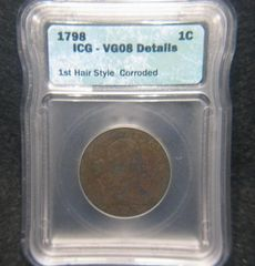 1798 Large Cent, 1st Hair Style ICG-VG08, details