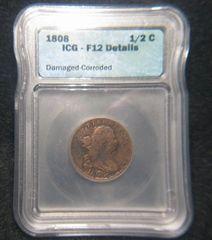 1808 1/2 Cent, ICG F12-Details