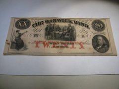 1850s $20 Warwick Bank