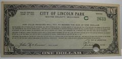 1934 $1 City of Lincoln Park