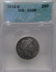 1916D Barber Quarter ICG-AU50