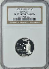 "2008-S Hawaii 25c NGC PF70 Ultra Cameo ""Aloha State"""