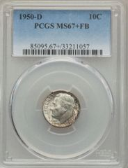 1950D Roosevelt 10c PCGS 67+FB Gem Condition Rarity Sold