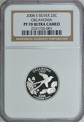 """2008-S Oklahoma 25c NGC PF70 Ultra Cameo """"Boomer Sooner"""""""