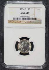 1954s Gem 10c PCGS MS66 FB