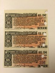 1906 Baltimore and Annapolis Short Line Railroad Company $25 Bond Interest Coupons