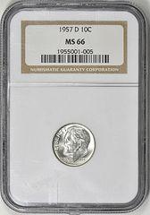 1957D Roosevelt 10c NGC66