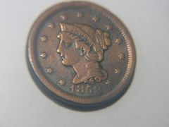 1852 Braided Hair Large Cent, VF details SOLD