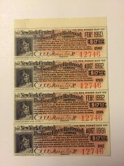 1898 NY Central & Hudson River Railroad $17.50 Bond Coupons Scrip 4 Pcs. Type 2