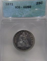 1871 Seated Liberty 25c ICG-AU50