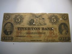 1856 $5 Tiverton Bank