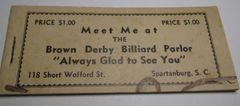 1930s? $1 Brown Derby Billiards, Spartanburg, SC Coupon Book SOLD