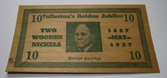 1937 Fullerton, CA Golden Jubilee,2 wooden Nickels