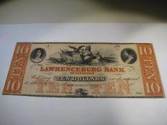 1850s $10 Lawrenceburg Bank