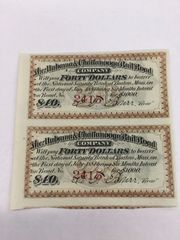 1884 Alabama & Chattanooga Railroad Company $40 Bond Interest Coupons