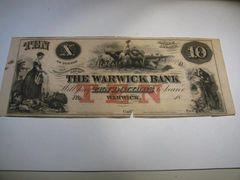 1850s $10 Warwick Bank