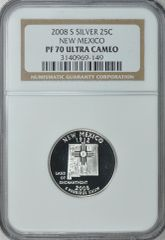 """2008-S New Mexico 25c NGC PF70 Ultra Cameo """"Land of Enchantment"""""""