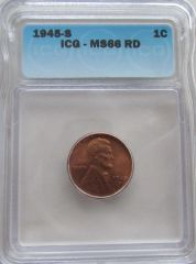 1945S ICG-MS66 RD Lincoln Cent