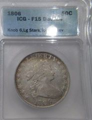 1806 Knob6, Large Stars Draped Bust 50c ICG-F15 Details Tooled Rev